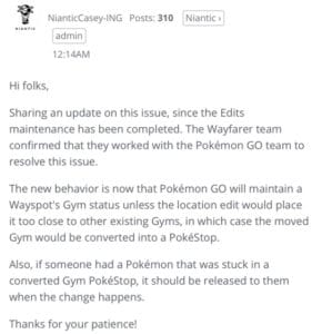 NianticCasey's comment in the forum with regards to new edit updats